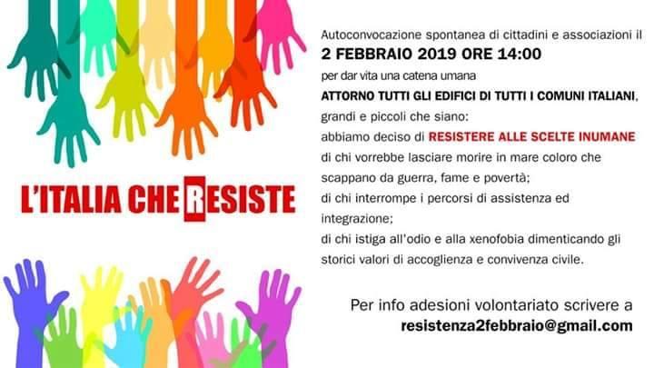 Adesione alla manifestazione 'L'Italia che resiste'